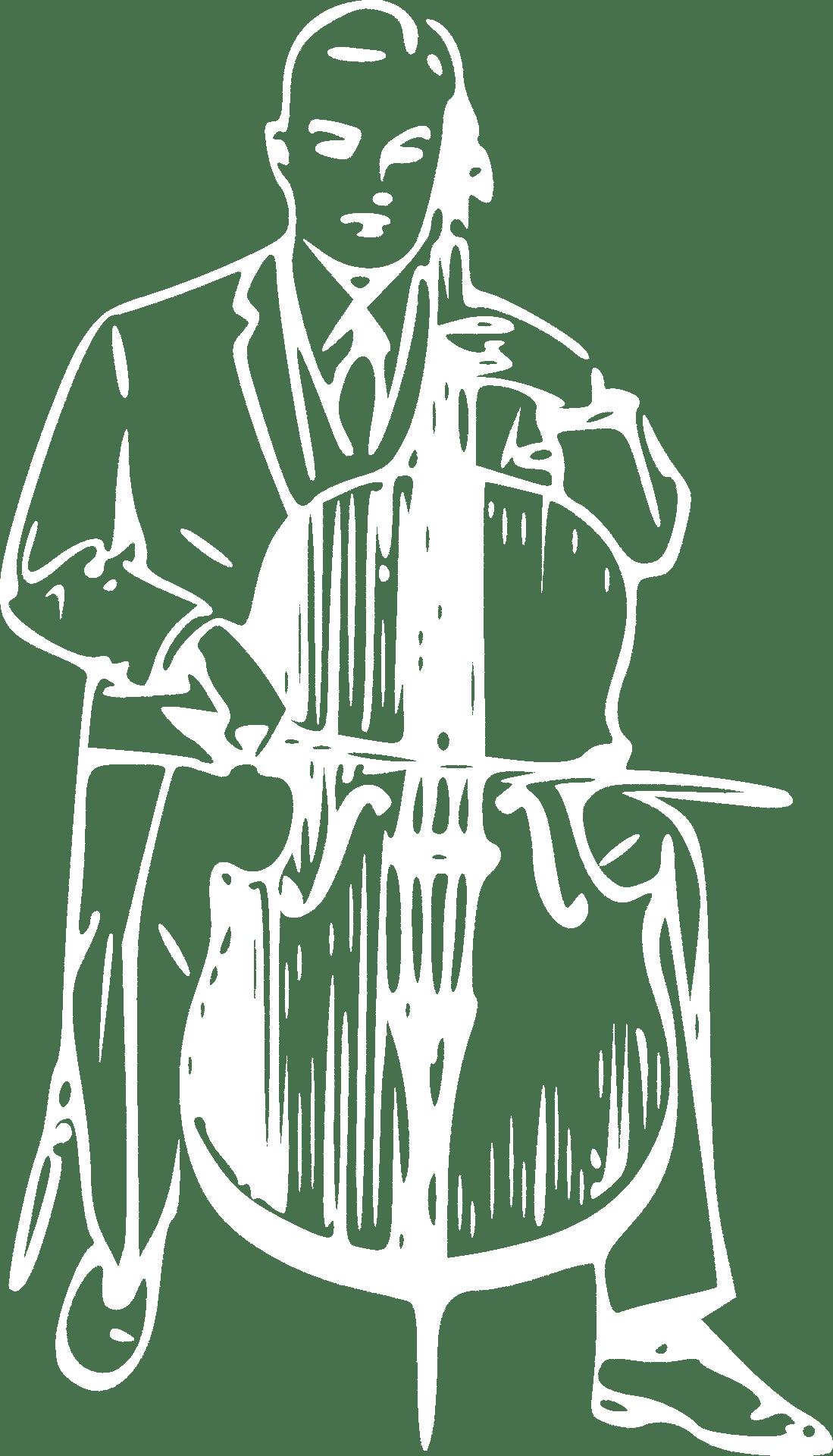 Tegning av en mann som spiller cello