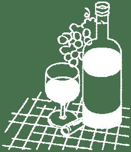 Tegning av vinflaske og druer
